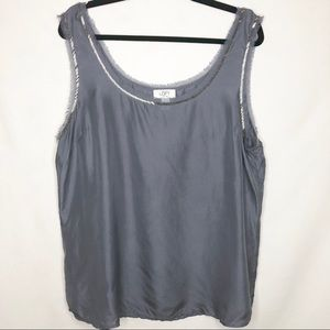 LOFT 100% Silk Embellished Beaded Tank Top